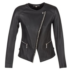 material Women Leather jackets / Imitation leather MICHAEL Michael Kors CHAIN FRONT BIKER Black