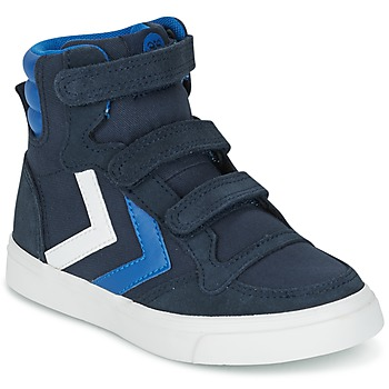 Shoes Children High top trainers Hummel STADIL CANVAS HIGH JR Blue / White