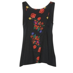 material Women Tops / Sleeveless T-shirts Desigual RICOLUEO Black / Red