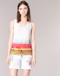 material Women Tops / Sleeveless T-shirts Desigual TEDERI White / Multicoloured