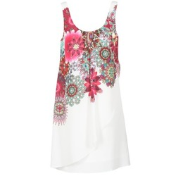 material Women Short Dresses Desigual LIORASA White / Red / Pink