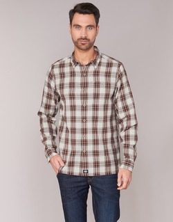 material Men long-sleeved shirts Dickies HARRELL White / Brown