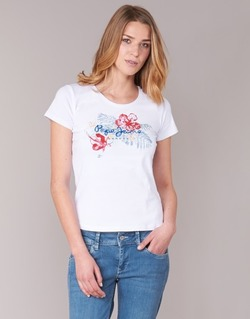 material Women short-sleeved t-shirts Pepe jeans AMBER White