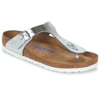Shoes Women Flip flops Birkenstock GIZEH SFB Silver