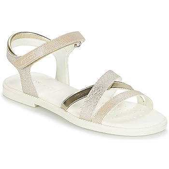 Shoes Girl Sandals Geox J S.KARLY G.D Beige / Gold