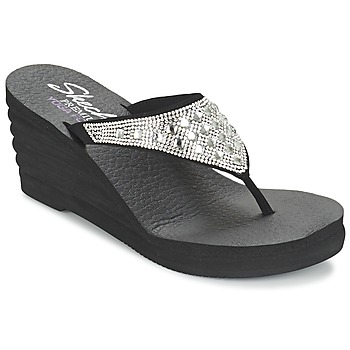 Shoes Women Flip flops Skechers LINEA Black / Silver