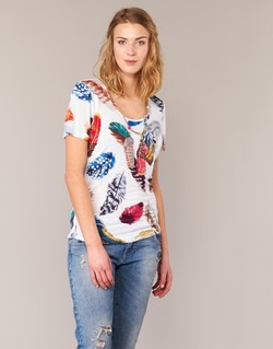 material Women short-sleeved t-shirts Derhy JACQUOT White / Multicoloured