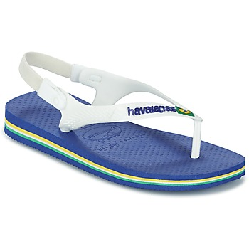 Shoes Children Flip flops Havaianas BABY BRASIL LOGO White / Blue
