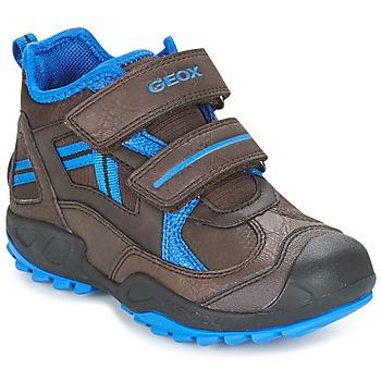Shoes Boy Low top trainers Geox J N.SAVAGE B.B Brown / Blue