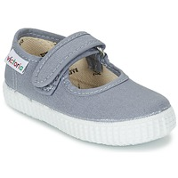 Shoes Girl Ballerinas Victoria MERCEDES VELCRO LONA Grey