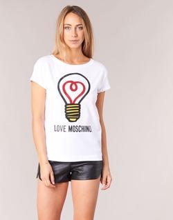 material Women short-sleeved t-shirts Love Moschino W4F3038E1512 White