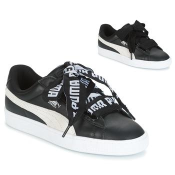 Shoes Women Low top trainers Puma Basket Heart DE Black   White 84bef33639ece