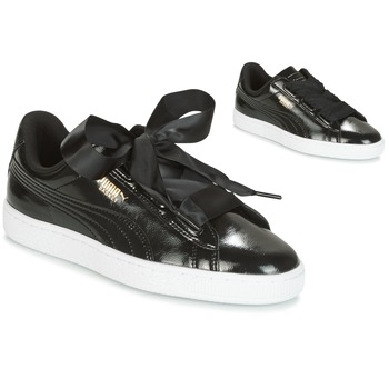 Shoes Girl Low top trainers Puma Basket Heart Glam Jr Black