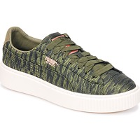 Shoes Women Low top trainers Puma Basket Platform Bi Color KAKI