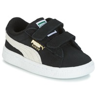 Shoes Children Low top trainers Puma SUEDE 2 STRAPS INF Black / White