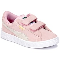 Shoes Girl Low top trainers Puma SUEDE 2 STRAPS PS Pink