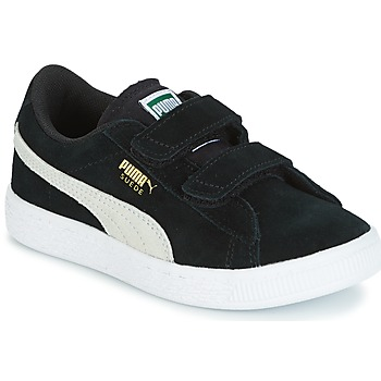Shoes Children Low top trainers Puma SUEDE 2 STRAPS PS Black / White