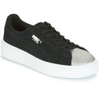 Shoes Women Low top trainers Puma SUEDE PLATFORM GLAM JR Black / Silver