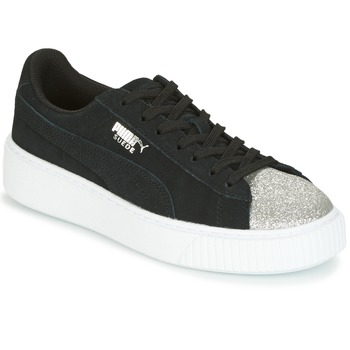 a48c7b9d99c Shoes Women Low top trainers Puma SUEDE PLATFORM GLAM JR Black   Silver