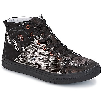 Shoes Girl Mid boots Catimini ROUSSEROLLE Black / Coppery