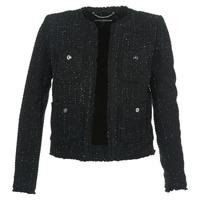 material Women Jackets / Blazers MICHAEL Michael Kors FRAY TWD 4PKT JKT Black / Silver