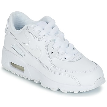 Shoes Children Low top trainers Nike AIR MAX 90 LEATHER PRE-SCHOOL White