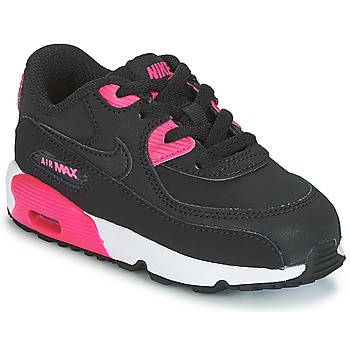 Shoes Girl Low top trainers Nike AIR MAX 90 LEATHER TODDLER Black / Pink