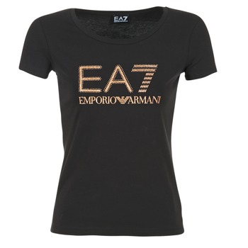 material Women short-sleeved t-shirts Emporio Armani EA7 TRAIN LOGO SERIES GLITTER Black / GOLD / Pink