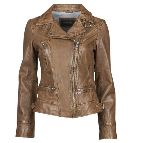 material Women Leather jackets / Imitation leather Oakwood VIDEO Cognac