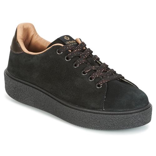 Womens Deportivo Serraje P. Negro Low-Top Sneakers Victoria 86OZO2a