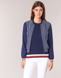 material Women Jackets / Blazers Tommy Hilfiger NALOME GLOBAL STP BOMBER Marine / White / Red