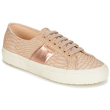 Shoes Women Low top trainers Superga 2750 PU SNAKE W Nude