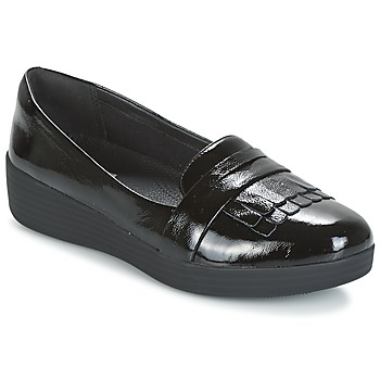 Shoes Women Loafers FitFlop FRINGEY SNEAKERLOAFER Black