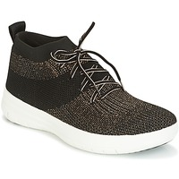 Shoes Women High top trainers FitFlop UBERKNIT SLIP-ON HIGH TOP SNEAKER Black / BRONZE