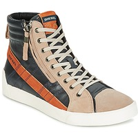 Shoes Men High top trainers Diesel D-STRING PLUS ANTHRACITE / CAMEL