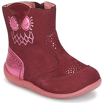 Shoes Girl Mid boots Kickers BRETZELLE Pink / Dark
