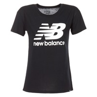 material Women short-sleeved t-shirts New Balance NB LOGO T Black / White