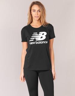 material Women short-sleeved t-shirts New Balance NB LOGO T Black / White