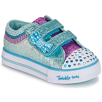Shoes Girl Low top trainers Skechers Shuffles White / BLUE