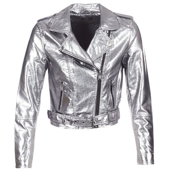 material Women Leather jackets / Imitation leather Only ANN Silver