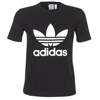 material Women short-sleeved t-shirts adidas Originals TREFOIL TEE Black