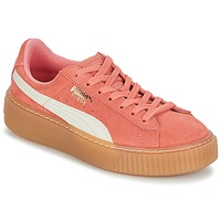 Shoes Girl Low top trainers Puma SUEDE PLATFORM SNK JR Pink / White