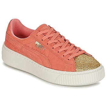 Shoes Girl Low top trainers Puma SUEDE PLATFORM GLAM JR Orange / Gold