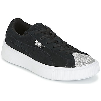 Shoes Girl Low top trainers Puma SUEDE PLATFORM GLAM PS Black / Silver