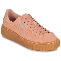 Shoes Girl Low top trainers Puma SUEDE PLATFORM JEWEL JR Pink / Beige
