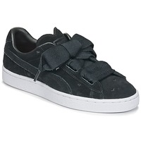 Shoes Girl Low top trainers Puma SUEDE HEART VALENTINE JR Black