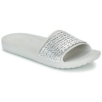 Shoes Women Tap-dancing Crocs SLOANE GRAPHIC ETCHED SLIDE W White / Silver