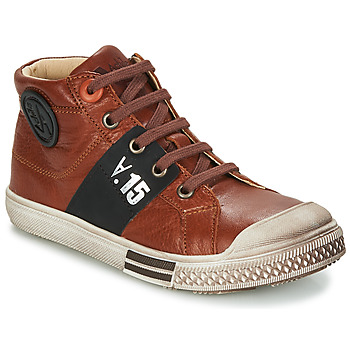Shoes Boy High top trainers GBB RUFINO Brown