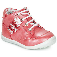 Shoes Girl Mid boots Catimini SOLDANELLE Vte / Red / Mother-of-pearl