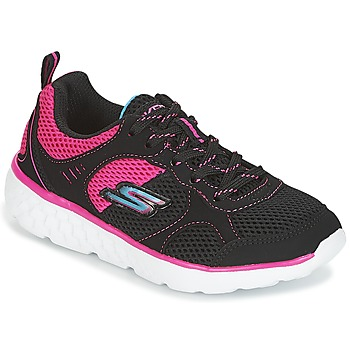 Shoes Girl Low top trainers Skechers PEP KICKS Black / Pink